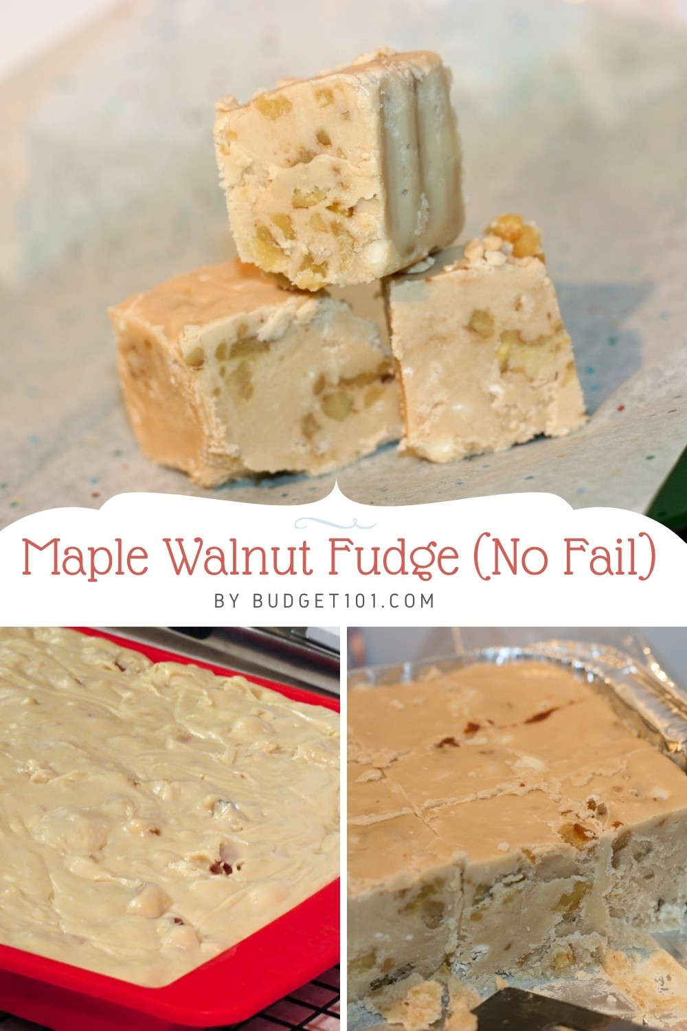 Delectable silky smooth, no fail, New England Maple Walnut fudge! Just 7 simple ingredients, this Maple fudge is by far the BEST Ever. For plain Maple Fudge candy, omit the nuts! #MapleWalnutFudge #MapleFudge #NewEnglandRecipes #Budget101 #MYO #CandyRecipes #ChristmasRecipes #ChristmasCandy