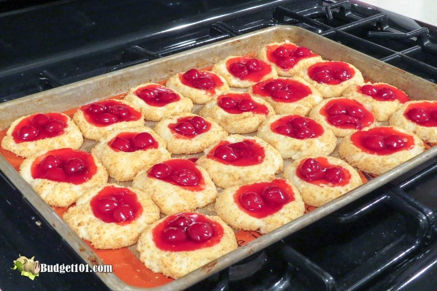 tray of fherry cheesecake cookies