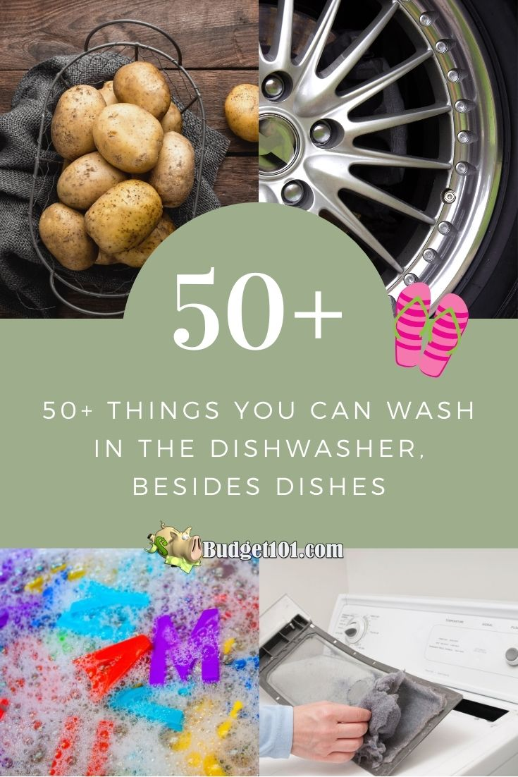50+ Items you can wash in the dishwasher, beside dishes. Practical ways to get household items clean and sanitized with minimal effort #Dishwasher #lifehacks #DirtCheap #Budget101