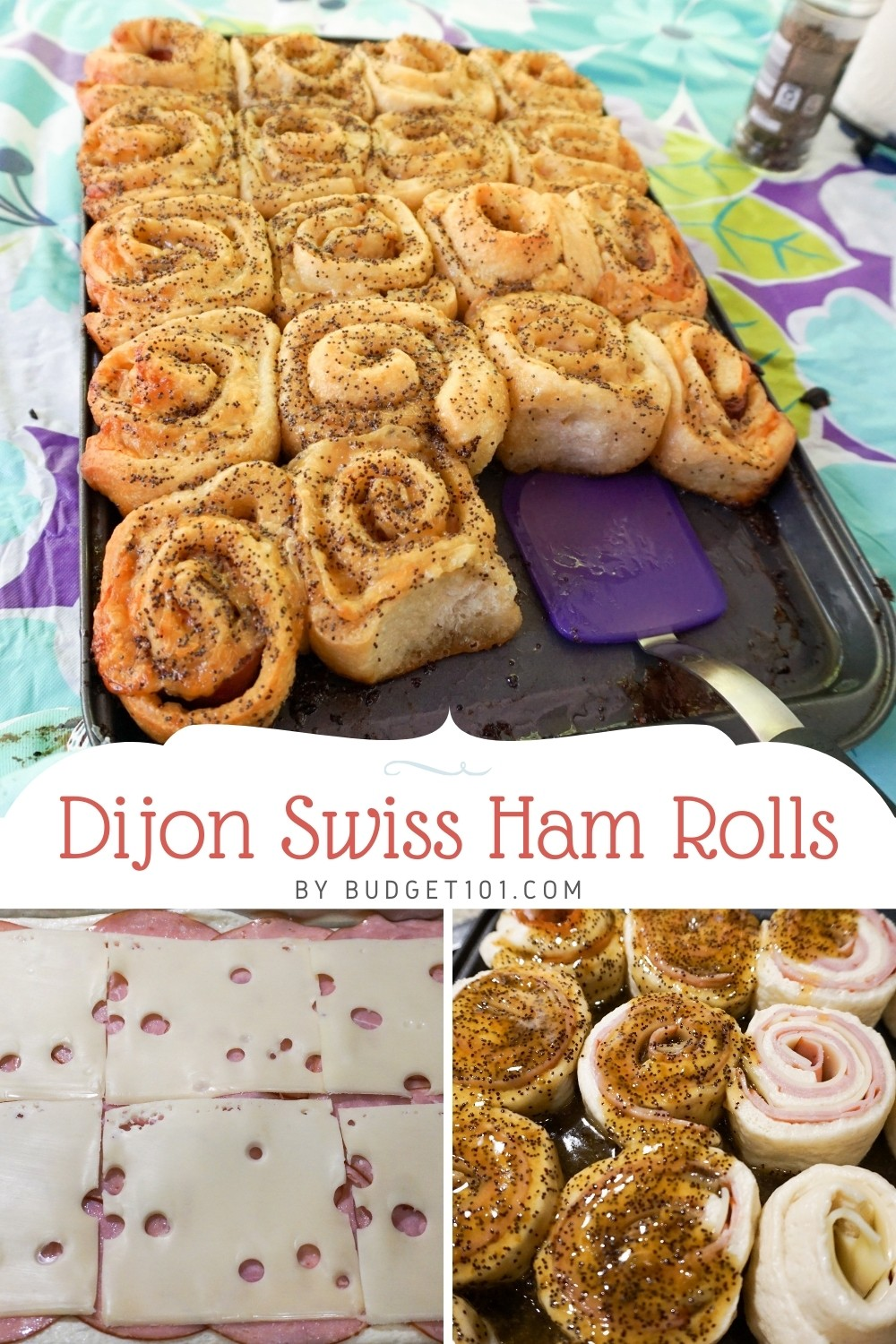 Dijon Swiss ham rolls, brown and crisp on the outside, soft, gooey, and cheesy on the inside with a touch of sweetness and the tang of dijon all at once! #Appetizers #DijonSwissHamRolls #Dijon #DirtCheap #Budget101 #PartyMunchies