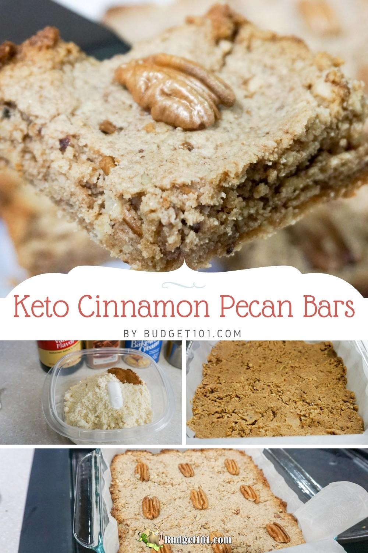Delicious, easy keto cinnamon pecan bars! Just 4 net carbs per generous bar! #Keto #KetoRecipes #DirtCheap #Pecan #KetoDesserts #PecanBars #CookieBars