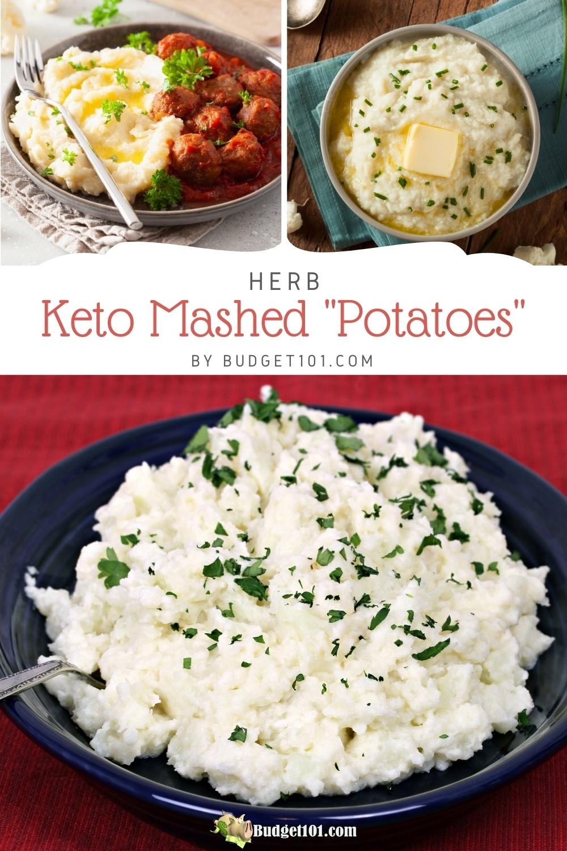 How to achieve the perfect consistency Keto Mashed Potatoes aka Whipped Cauliflower & Herbs, #Keto #KetoRecipes #Budget101 #cauliflower #Cauliflowermash #MYO #DirtCheap #BudgetKeto