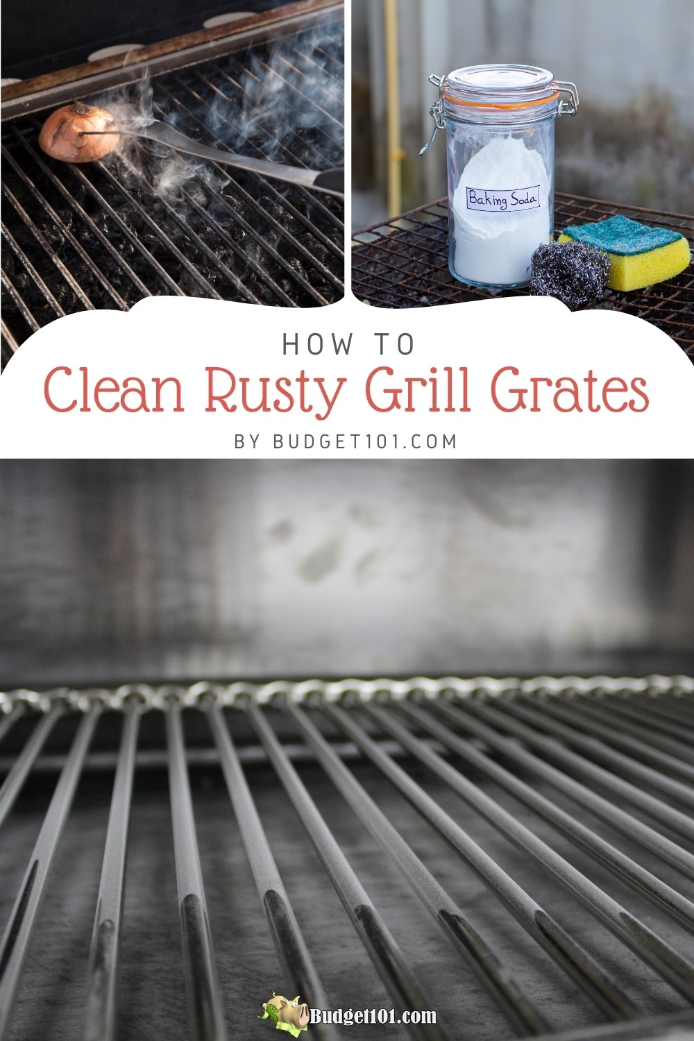 Clean Rusty Grill Grates the Easy Way! Here are 3 easy methods for removing rust from grill grates & getting them to sparkle, just in time for BBQ season. #Tipsntricks #Budget101 #Cleaning #CleaningHacks #RustSucks #Grill