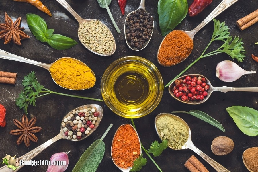 variety herbs spices