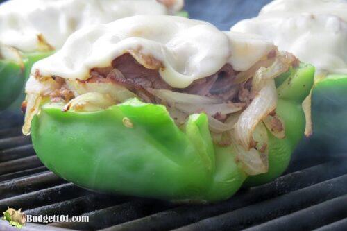 keto philly cheesesteak stuffed pepper