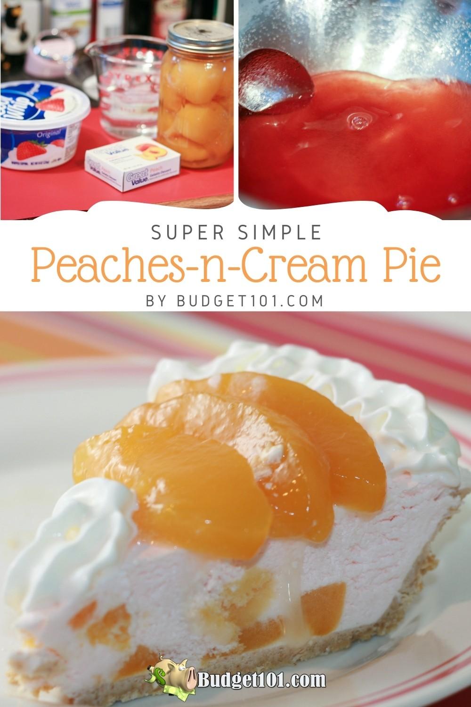Simple 4-ingredient Peaches-n-Cream Pie recipe by #Budget101 #Peaches #PeachesnCream #dirtCheap
