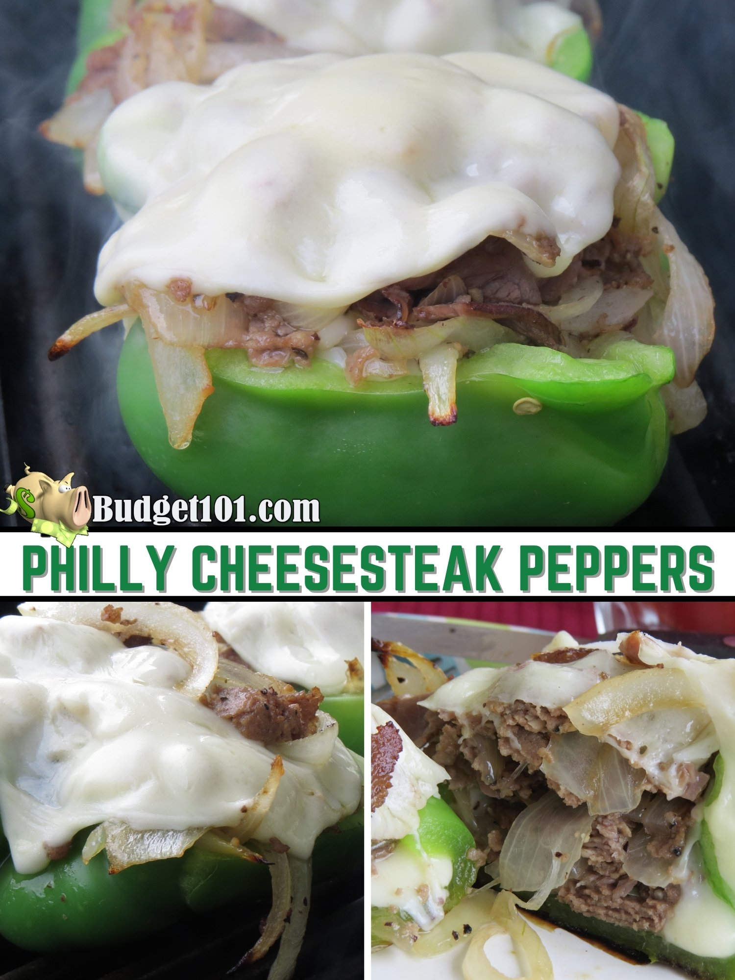 Philly Cheesesteak Peppers- bell peppers stuffed with caramelized onions, cheese, tender morsels of beef and seasoning, then grilled to perfection! #Budget101 #Leftovers #PhillyCheesesteak #KetoRecipe #Keto