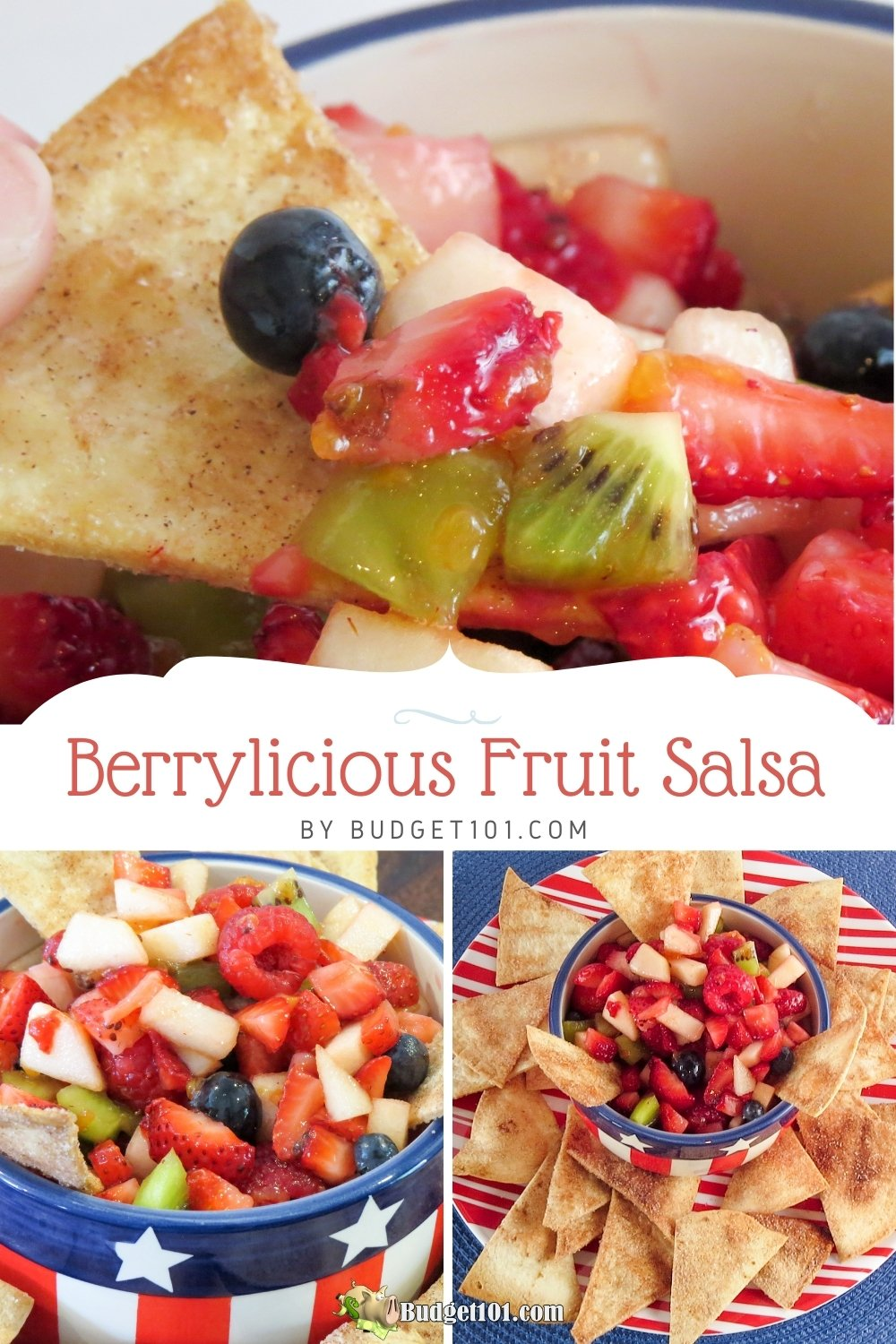 berrylicious fruit salsa loaded with strawberries, raspberries, blueberries, kiwi & apple with just the right amount of sweetness to bring it all together, served with cinnamon tortilla chips #Budget101 #DirtCheap #Potluck #PotluckRecipes #Summertime