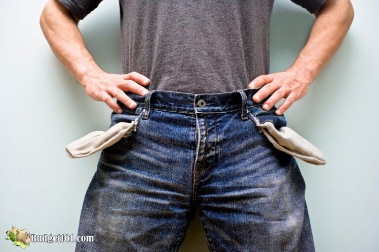 completely broke in debt
