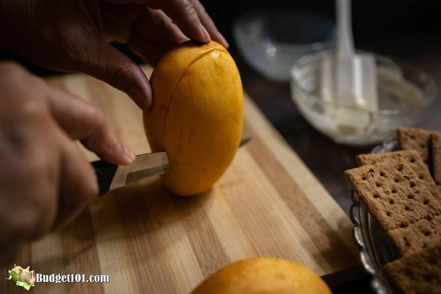 cutting a mango