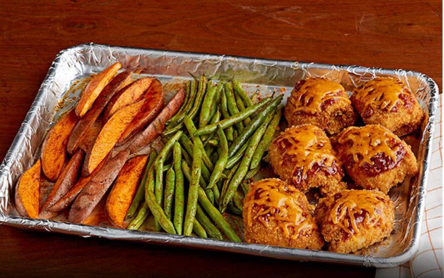BBQ Sheet Pan Dinner- Chicken & Sweet Potatoes
