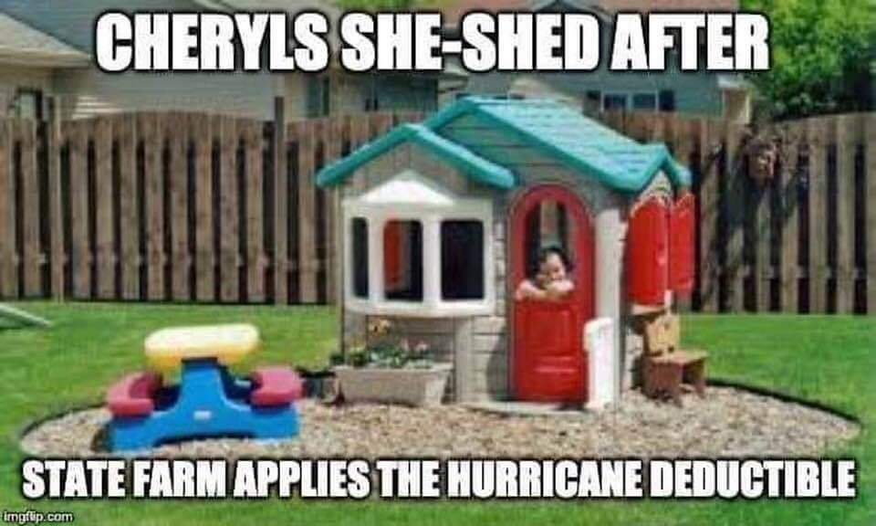 Cheryl's she shed when state farm got done