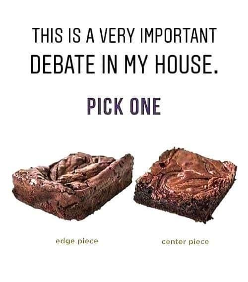 brownie debate edge or center