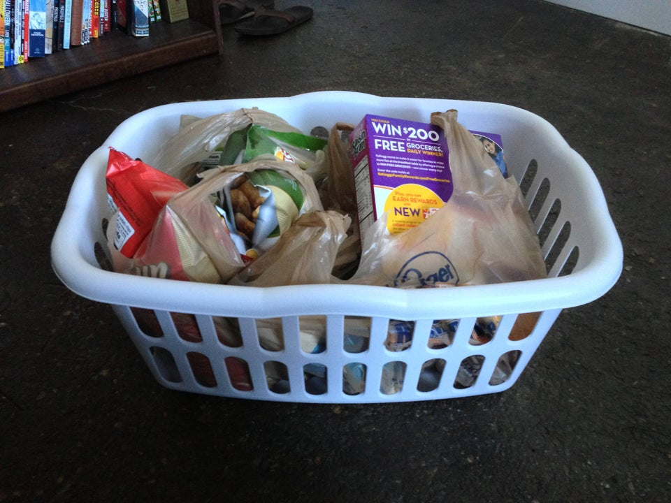 laundry basket groceries