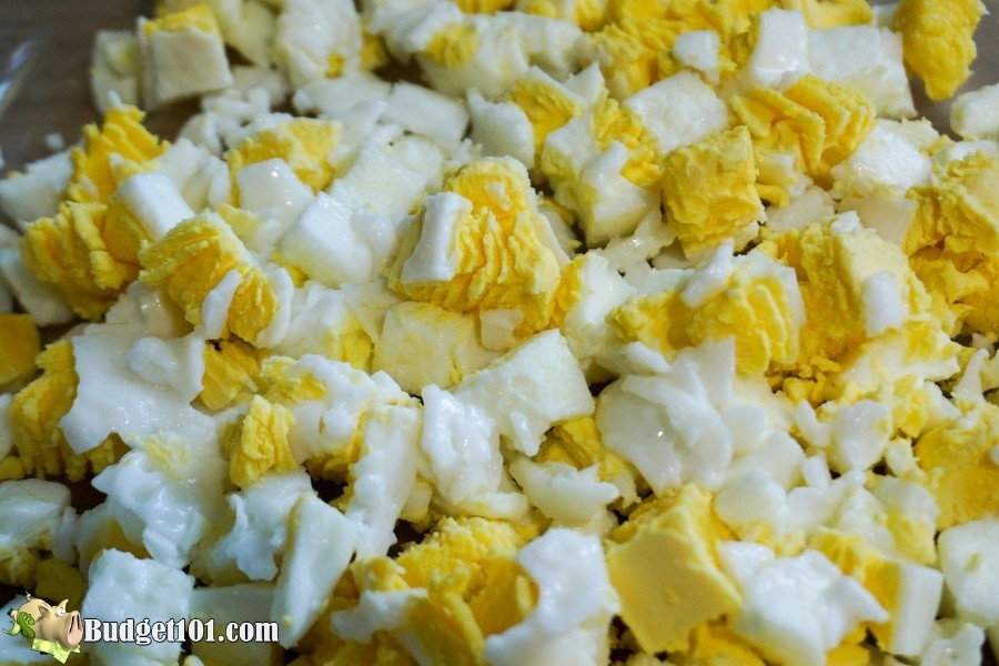 cheesy bacon egg breakfast chopped egg