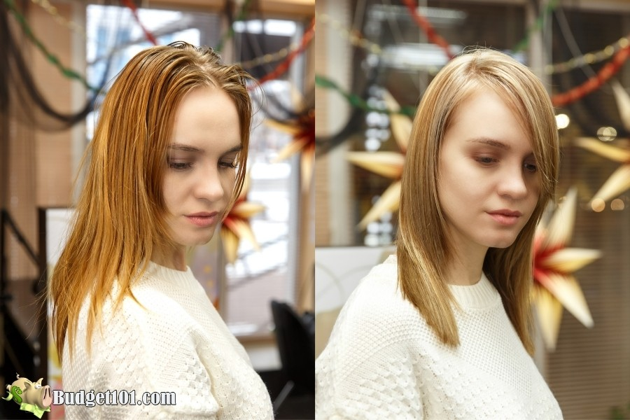 hair coloring at home before after
