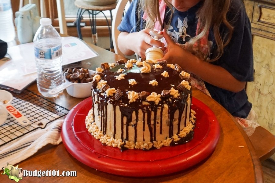 reeses peanut butter chocolate layer cake final details