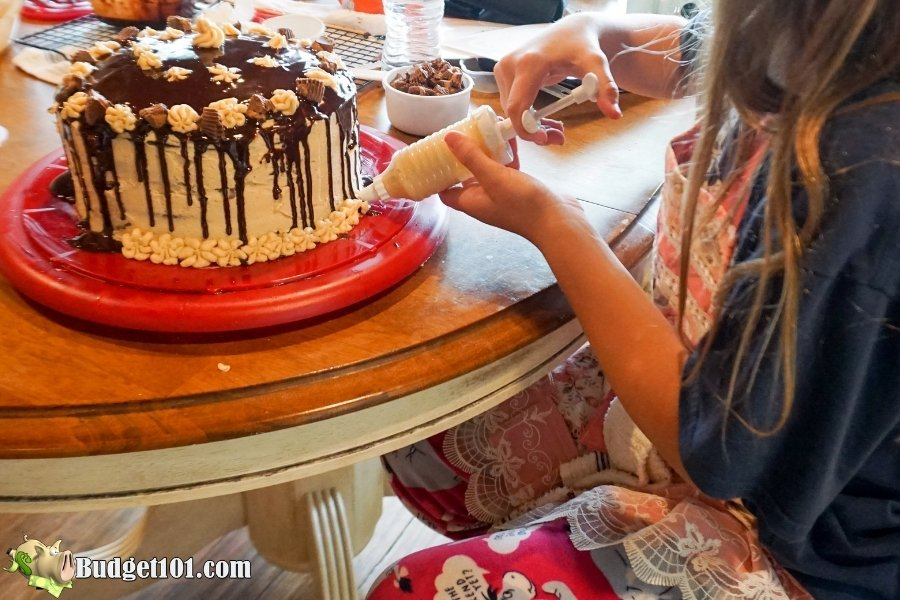 reeses peanut butter chocolate layer cake finishing touches