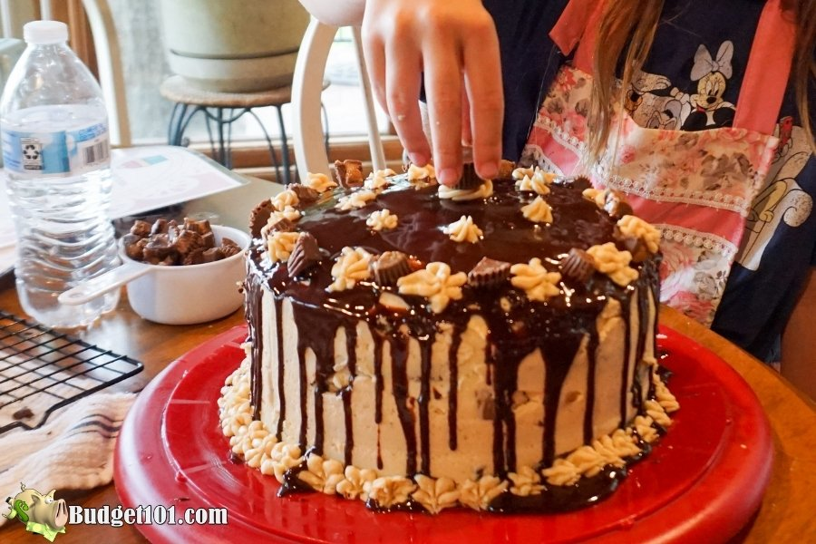 reeses peanut butter chocolate layer cake topping