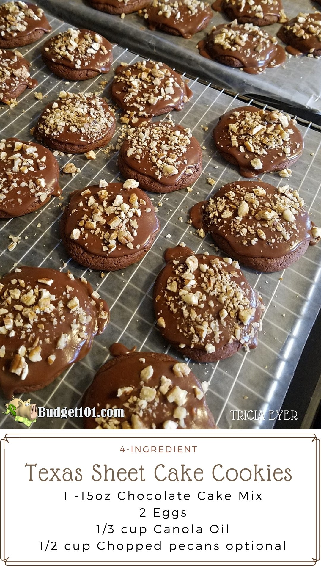 Texas Sheetcake Cookies are reminiscent in flavor of a delicious Chocolate Texas sheet cake glazed in decadent chocolate icing and finished with chopped pecans. #Texas #CakeMixRecipes #Budget101 #chocolatecookierecipes