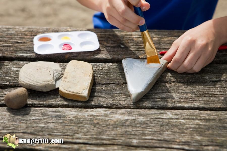 apply base coat rock painting hobbies