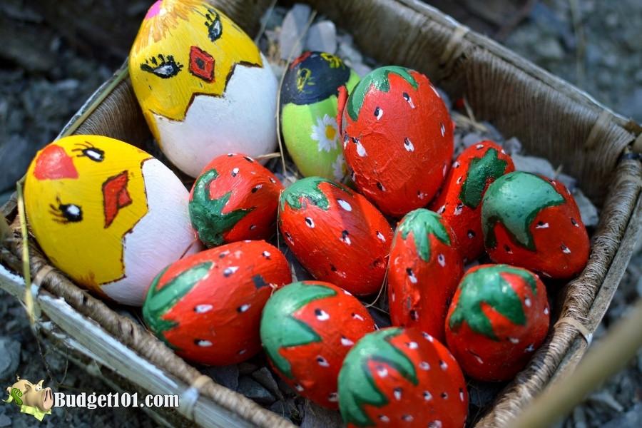 basket of painted rocks to hide
