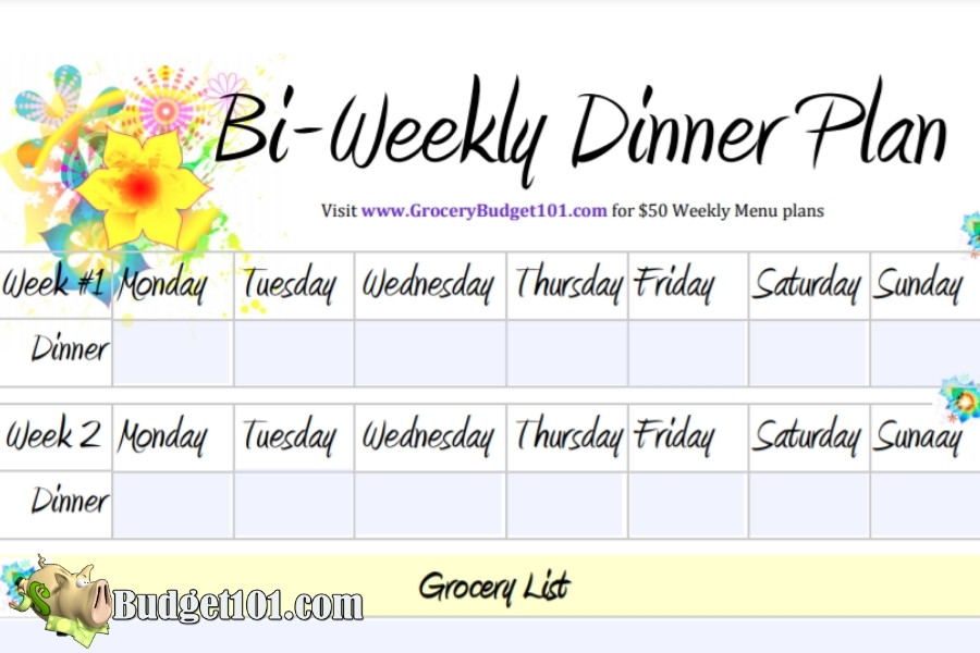 bi weekly menu plan