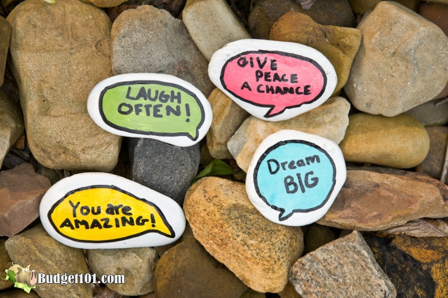 bright colors simple message rock painting hobbies