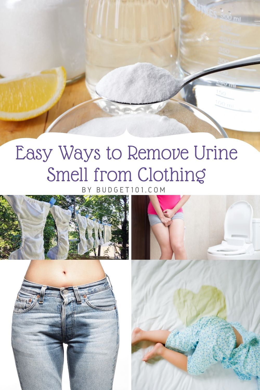 Easy Ways to Remove Urine Smell from Clothing! Pet urine stains are bad enough, but human urine stains are worse! Either way, urine can be quite stinky and messy. Here are some easy ways to remove the smell of urine from your clothing. #budget101 #cleaningtips #urinesmellremoval #peestains #DIY #Howto