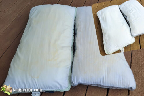 finished pillows before after