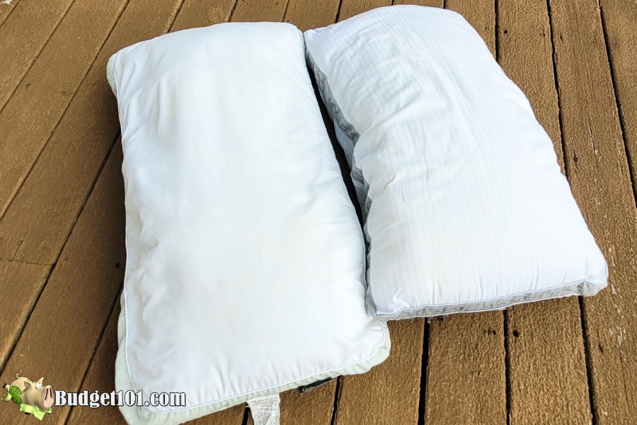 finished pillows using homemade miracle pillow whitener