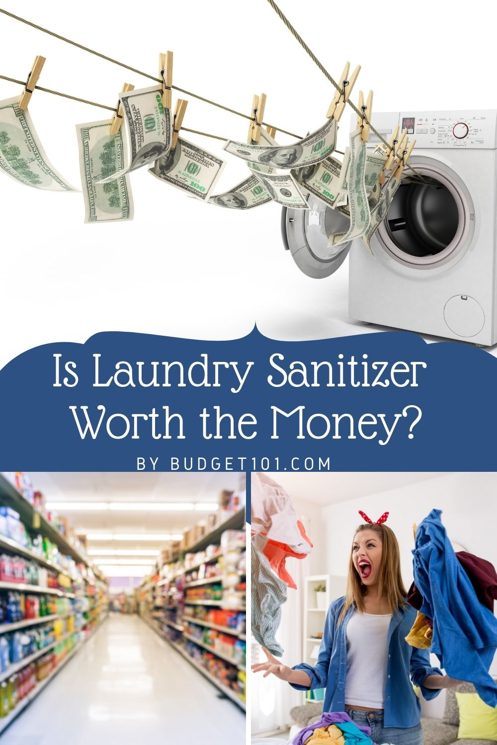 is laundry sanitzer worth the money? The average person does about seven loads of laundry a week. You might wonder if laundry sanitizer is worth the money since most leading brands promise to kill 99.9% of the germs found on soiled clothing. The short answer is.. #Laundry #LaundrySanitizer #MYO #DIY #HowTo #Budget101